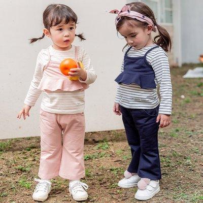 ✽2019早秋新品✽韓國Bebezoo女童條紋假兩件長袖上衣+長褲套裝
