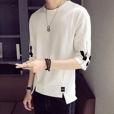 男士短袖t恤韓版潮流寬鬆7七分袖夏季潮牌五分袖男半袖體恤上衣服