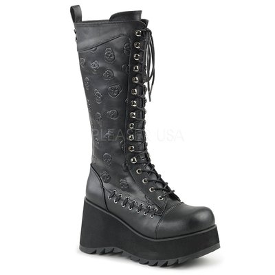 Shoes InStyle《三吋》美國品牌 DEMONIA 原廠正品骷髏歌德蘿莉厚底楔型中長及膝馬靴 有大尺碼『黑色』
