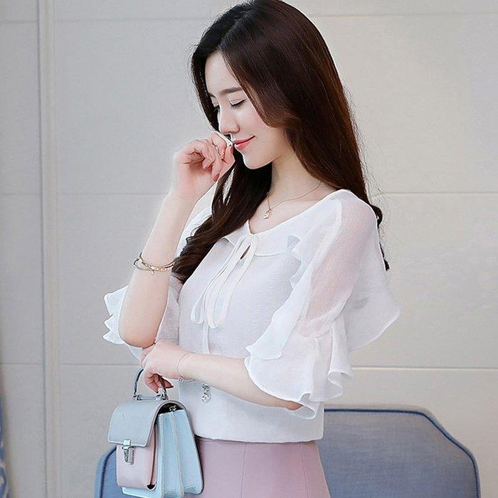 雪紡上衣 小清新 時尚 短袖 百搭 雪紡襯衫女短袖很仙的上衣顯瘦年春款新款潮女裝夏裝洋氣小衫