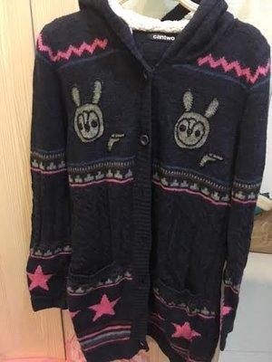 小花別針、日系品牌【 CANTWO 】長版針織兔兔毛衣外套