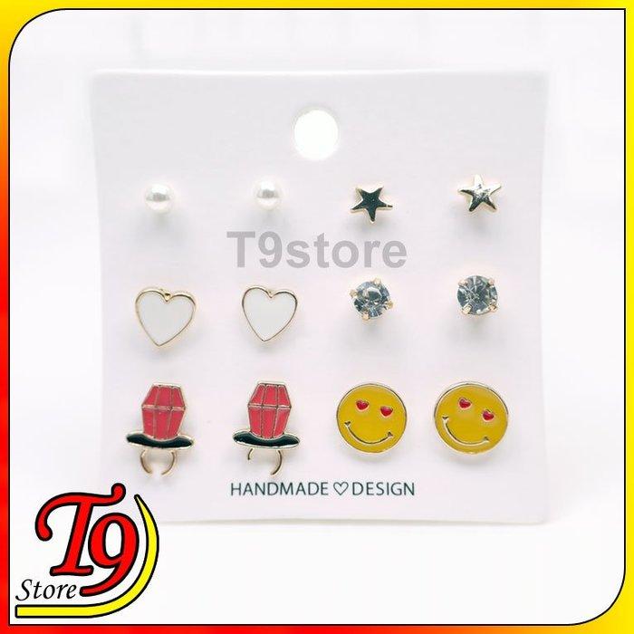 【T9store】韓國製 愛心臉微笑組合鋼針耳環