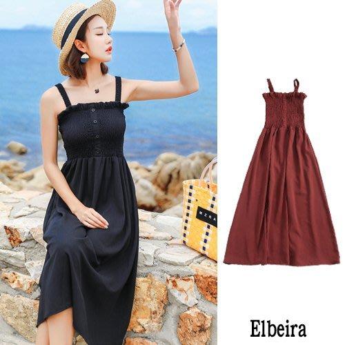 衣貝拉 - 性感一字領露肩鬆緊壓褶顯瘦海邊度假涼感吊帶連身裙 洋裝 《3色》【28527】Elbeira