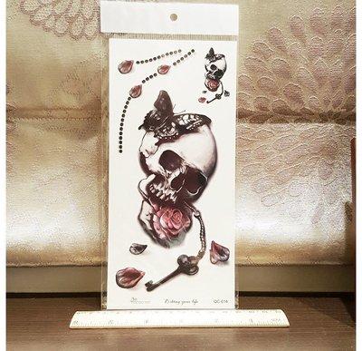 【萌古屋】Z系列骷顱頭寶石玫瑰手臂大圖 - 男女防水紋身貼紙刺青貼紙K34