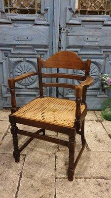【卡卡頌  歐洲古董】荷蘭阿姆斯特 H.Pander & Zonen 特殊 老橡木雕刻 藤面 扶手椅 ch0417 ✬