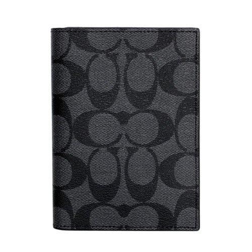 COACH 護照夾名片夾男女用防刮皮革PVC 黑灰 全新 聖誕禮物特價3990