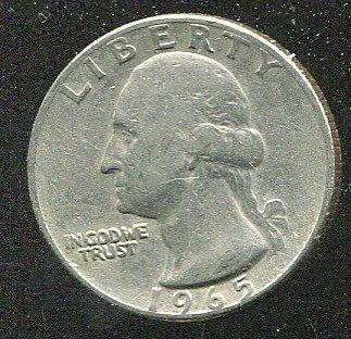 United States(美國25分硬幣),25-CENT,1965 ,品相普 F