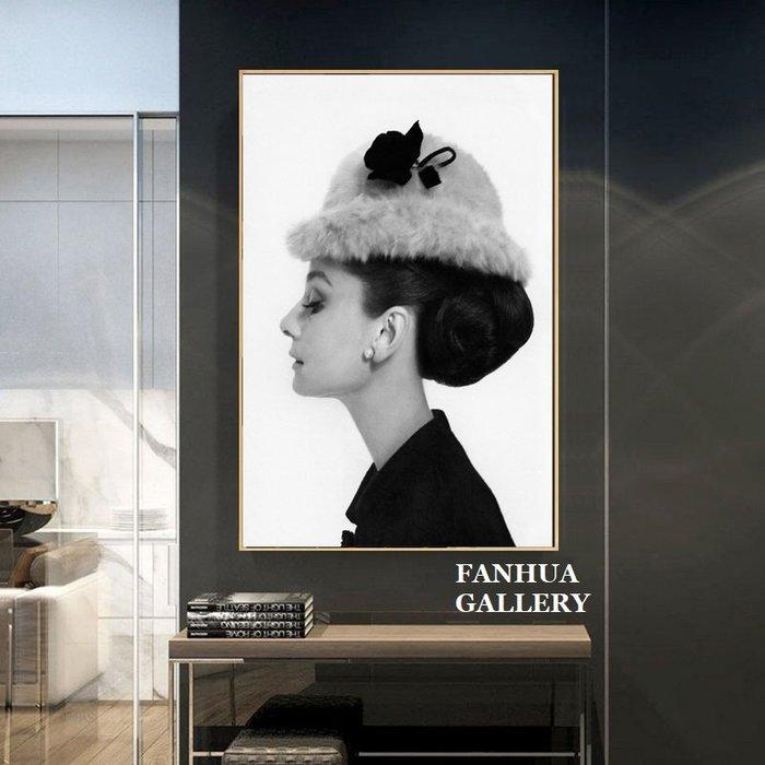 C - R - A - Z - Y - T - O - W - N Audrey Hepburn黑白文藝人物奧黛麗赫本裝飾畫經典女星掛畫客廳工作室時尚人物壁畫