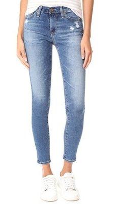 ◎美國代買◎AG The Midi Ankle in 8years infamy 小刷破刷白色中高腰合身八分牛仔褲