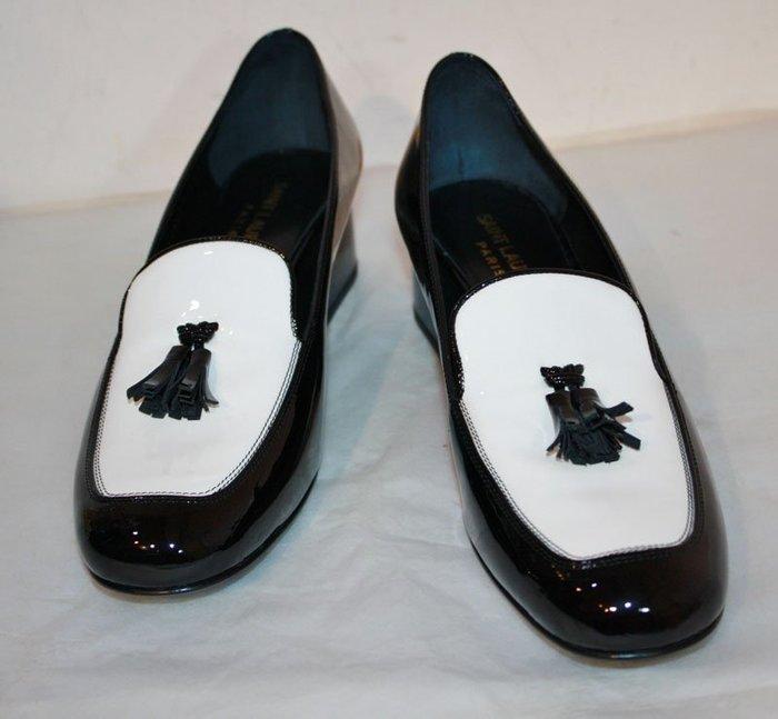 海洋工坊二手名牌旗艦店~Saint Laurent YSL 黑白漆皮紳士鞋(SIZE:361/2)