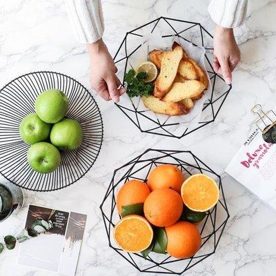 ZIHOPE 北歐簡約鐵藝水果籃客廳水果盤家用創意收納籃果盆零食盤ZI812