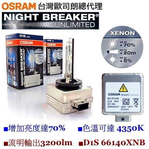 飛馳車部品~德國 OSRAM 歐司朗 4250K 66140XNB D1S Night Breaker 增亮70% 2