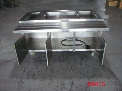 【全冠】二手 厚白鐵 自助餐檯 便當餐檯 碗盤台 150*121.5*82.5公分(B8413)