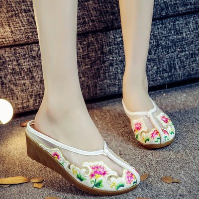 老北京繡花布鞋女透氣網紗包頭涼拖鞋民族風歐根紗外穿半拖鞋夏季