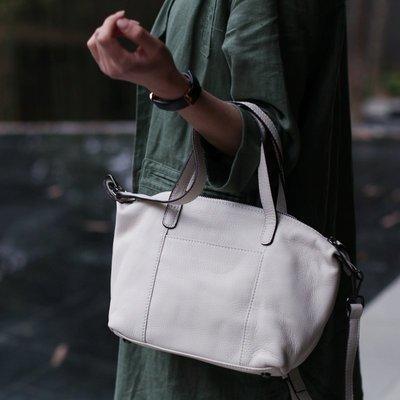 【鈷藍家】手工女包 日系真皮托特包簡約文藝牛皮手提包側背包通勤小包
