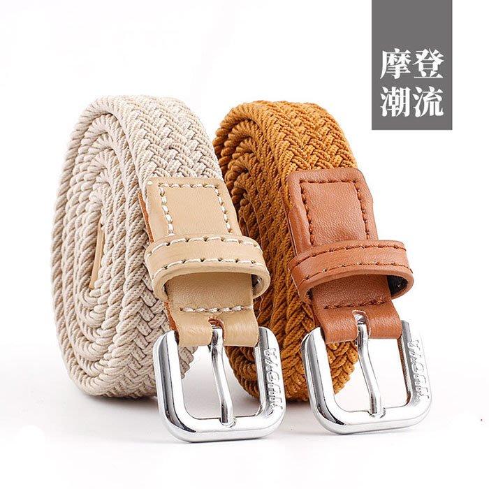 腰鏈皮帶 素色 編織 細皮帶 簡約 帆布 百搭 個性 腰帶【NRZ114】