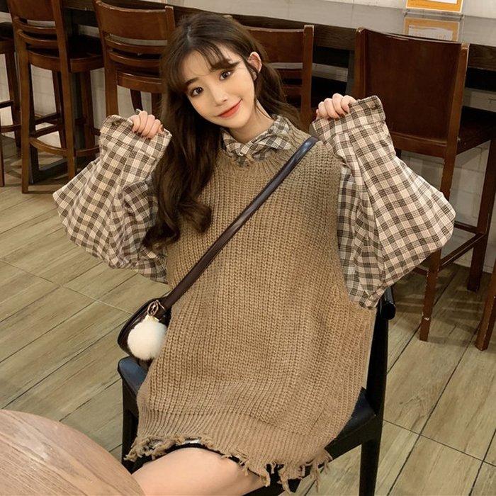韓版時尚休閑套裝春裝破洞毛邊針織馬甲+中長款格子襯衫兩件套女#外套#上衣#新款#潮流#韓版#時尚