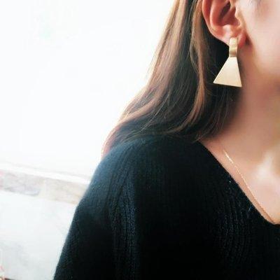 韓國Baby~ins復古三角耳環女時尚金屬chic極簡耳飾歐美夸張長款耳釘