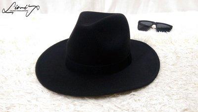 『低價促銷』黑色超硬挺寬沿紳士帽 Wide brim hat 歐美  復古 毛呢  寬沿 大帽簷 【LtLf】