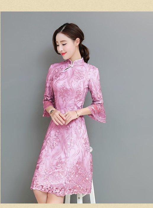 日韓服飾*旗袍領蕾絲連身裙*韓國連線**現貨*溫柔復古風*原價750-特價577**3s潮流屋~2件免運