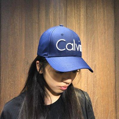 美國百分百【全新真品】 Calvin Klein 男帽 棒球帽 牛仔 經典 logo 帽子 CK 深藍 AE81