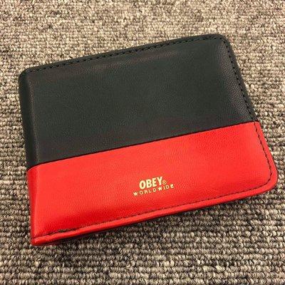 BEETLE 美國品牌 OBEY GENTRY DEUCE BI-FOLD WALLET  深藍 紅 皮夾 短夾