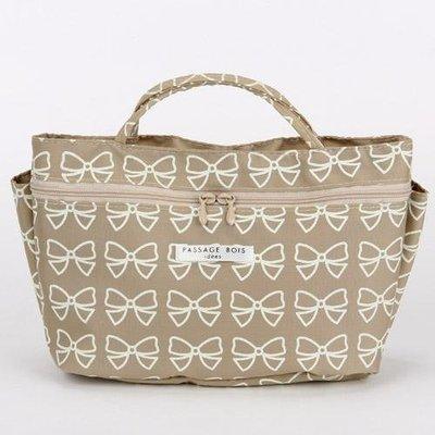 包中包--日本製簡約蝴蝶結袋中袋/包包收納袋/包包隔層/化妝包--秘密花園