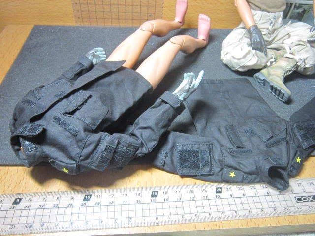 AJ2特戰部門 SS美軍1/6精緻黑色野戰服上衣一套(四口袋可置物)
