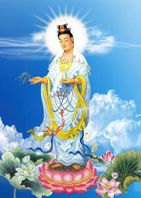 佛教掛畫 開光轉運結緣精美殊勝凈土觀世音菩薩畫像佛教佛堂掛畫觀音站像圖相片塑封