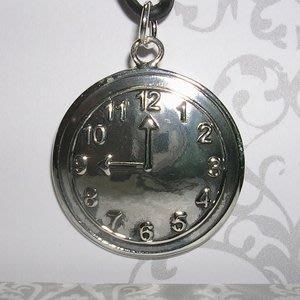 琥珀貓銀飾DIY【925純銀飾品】墜飾~N9984~時鐘~一個