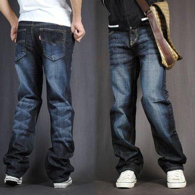 胖人專賣 牛仔褲男寬松直筒大碼加肥加大闊肥佬胖子仔長褲款彈力型潮流vskf