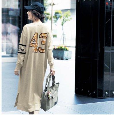 Co媽日本精品代購 預購 日本 正版 迪士尼 奇奇蒂蒂 唐老鴨 洋裝 連帽內刷毛長洋裝 S~LL