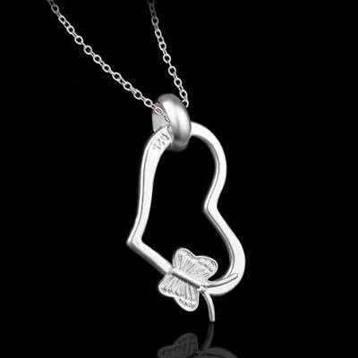 925純銀項鍊 吊墜-時尚可愛心形生日情人節禮物女配件 銀飾73ad59[獨家進口][米蘭精品]