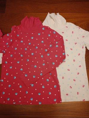 Bossini 專櫃品牌 女童半高領長袖上衣 秋冬最適合搭配 100%棉