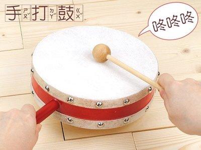 【台灣陣頭】8吋半 / 牛皮手打鼓【 附鼓棒1支】雙鼓面質感極優-台灣製