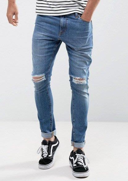 ◎美國代買◎ASOS經典藍刷白色雙膝刷破刷色合身顯廋刷破牛仔褲~歐美街風~大尺碼