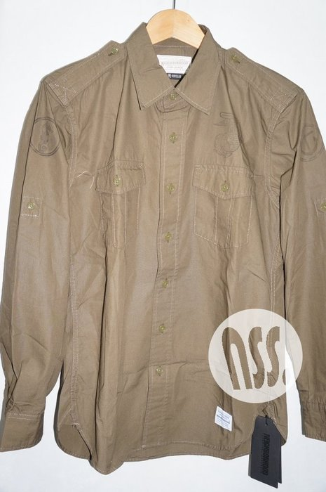 特價「NSS』NEIGHBORHOOD OFFICER C-SHIRT LS 軍事 長袖 襯衫 綠M