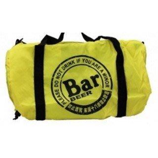 全新現貨 甜甜價 BAR 摺疊運動包 折疊旅行袋 滾筒收納包 麒麟霸BAR BEER折疊旅行袋/提袋/購物袋/行李 輕巧好攜帶 台中 面交 免運費 甜蜜價格