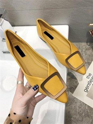 女鞋2019春季新款韓版百搭金屬方扣尖頭平底鞋軟底舒適淺口單鞋女