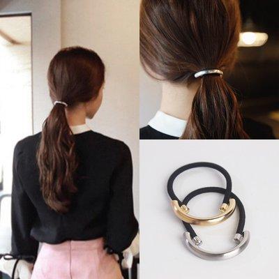 CICI的賣場~簡約正韓合金半圓髮圈 拉絲個性歐美OL時尚扎頭髮馬尾皮筋頭飾品