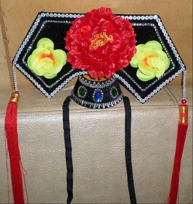 高雄艾蜜莉戲劇服裝表演服*古裝帽/成人清朝皇后格格帽/旗頭紅花$600元