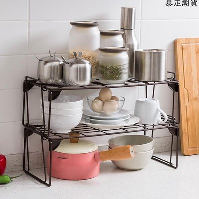 精選 家用古銅黑調味品置物架廚房用碗碟收納架調味瓶架子醬油醋整理架