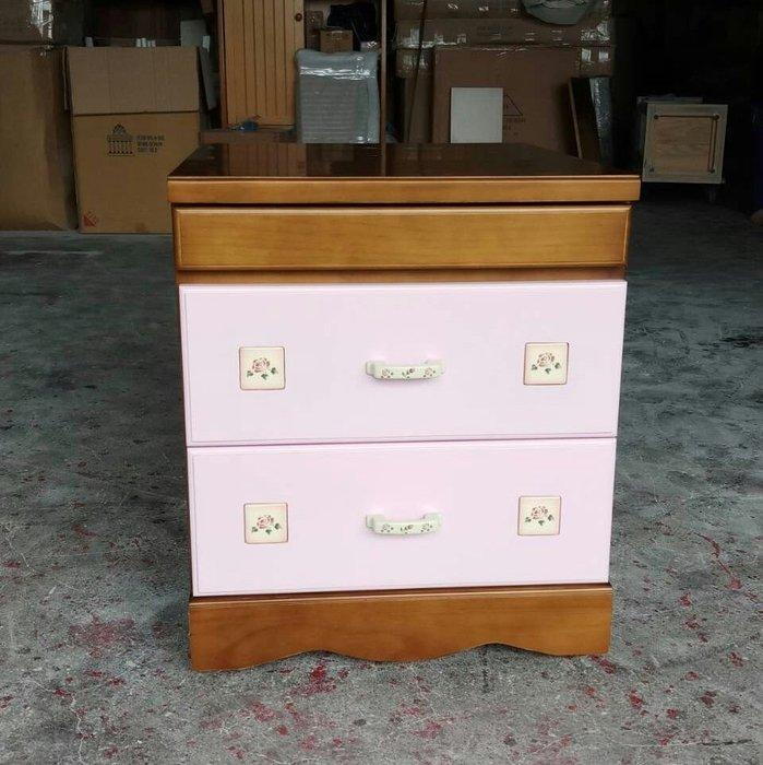 美生活館 客訂鄉村家具 三抽床邊收納櫃 粉紅銅柚色 夾縫櫃 床邊櫃 床頭櫃 置物櫃 也可修改尺寸與顏色再報價