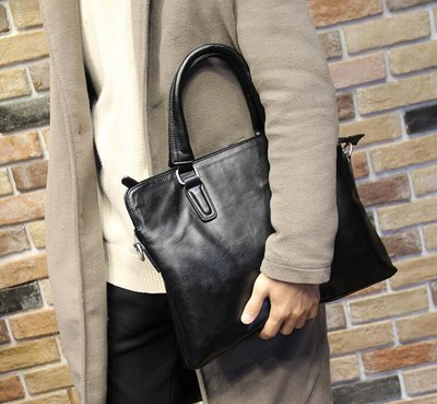 FINDSENSE Z1 韓國 時尚 潮 男 皮質 黑色 多功能 休閒 商務 手提包 單肩包 側背包 電腦包 公文包