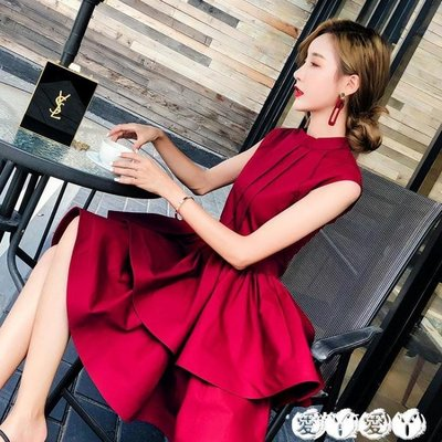 小禮服 紅色A字蓬蓬蛋糕連身裙女夏新名媛聚會宴會派對晚小禮服短款