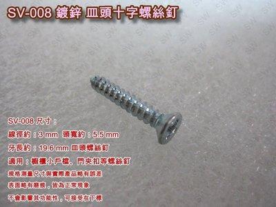 SV-008 十字螺絲 3 X 19.6 mm 皿頭螺絲(單支價0.2元)鍍鋅螺絲 機械牙螺絲 平頭螺絲 木工螺絲