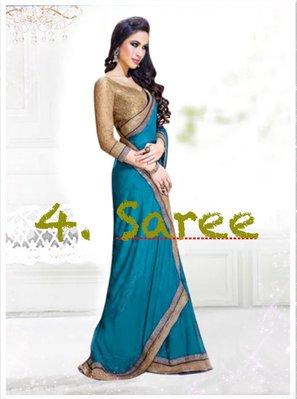 4. 雪紡紗湖水綠金 Saree 寶萊塢明星風格莎麗 印度舞衣紗麗 Sari