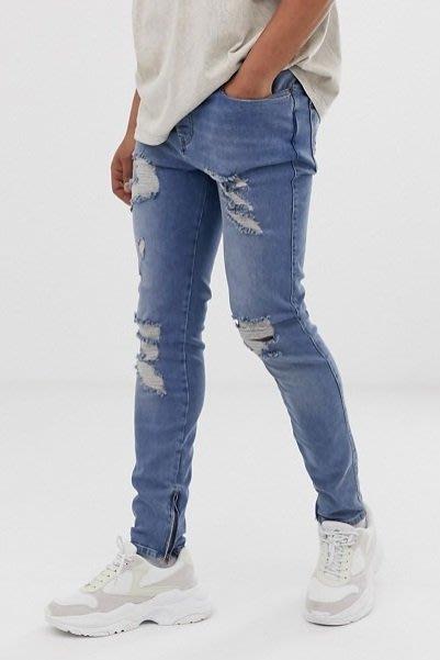 ◎美國代買◎ASOS代買刷破褲管與褲口內側拉鏈設計搭配合身剪裁英倫頹廢街風合身刷破拉鏈藍色牛仔褲~歐美街風~大尺碼