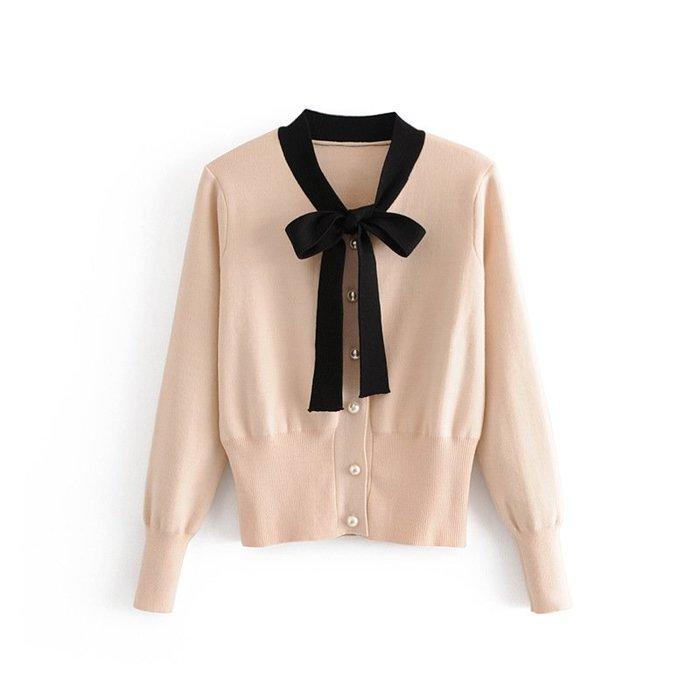 ☆Alice W☆ 【S10172】領結繫帶珍珠扣針織小外套 (三色)│預│