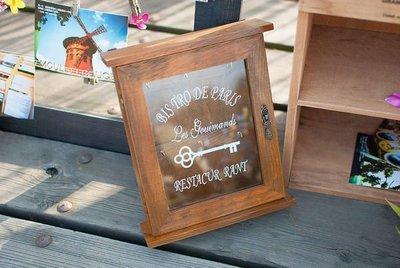 生活雜貨館☆木作鄉村風 壁掛鑰匙盒 玻璃鑰匙櫃 鑰匙箱 收納盒 收納箱 民宿咖啡廳店鋪餐廳質感擺飾 居家風格裝飾佈置